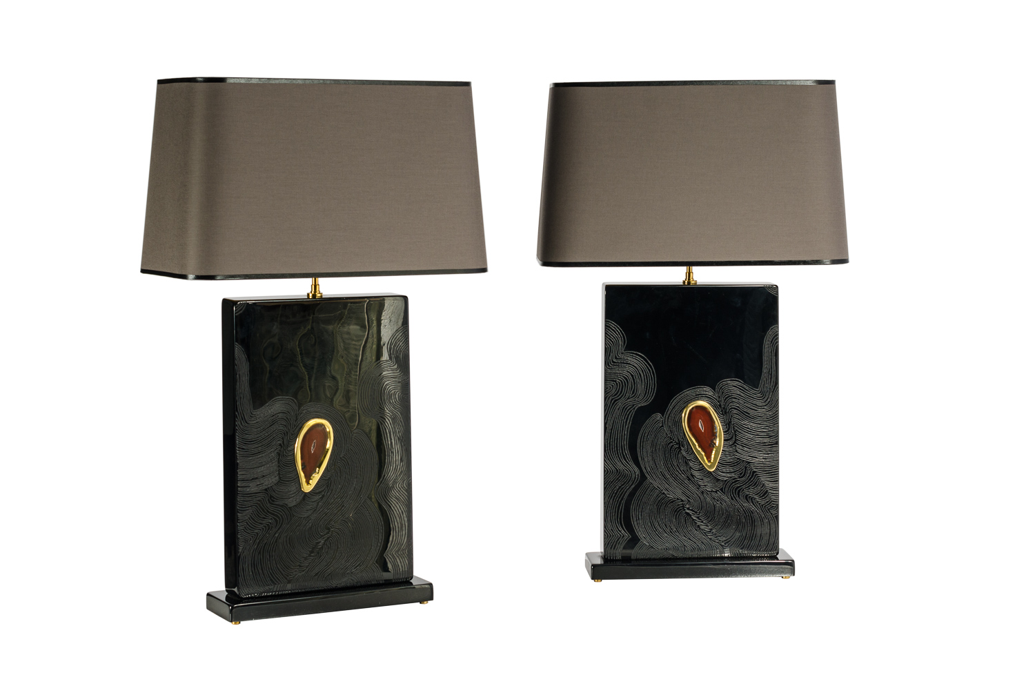 Pair Of Black Resin Table Lamps Inlay Agate By Stan Usel